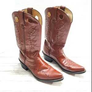 Durango Western Cowboy Boots Brown Leather Sz 7.5